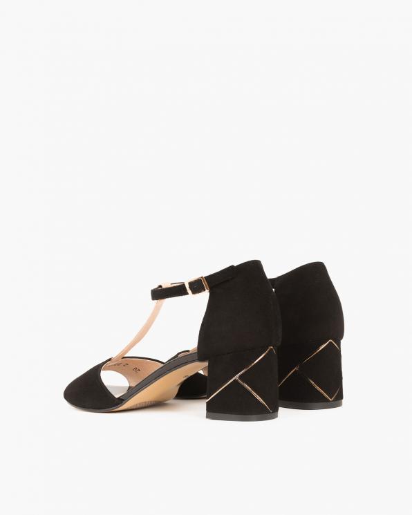 Czarne sandały zamszowe na słupku  018 002-18 CZARN