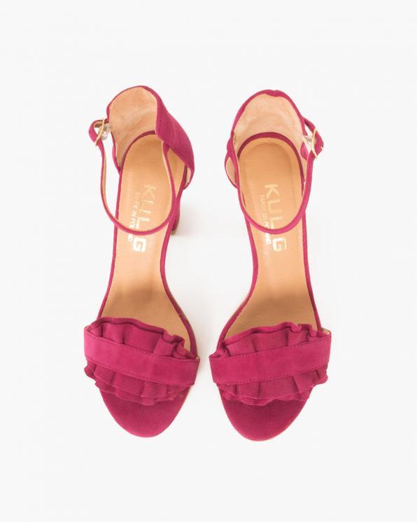 Bordowe sandały welurowe na słupku  061 1922-BORDO