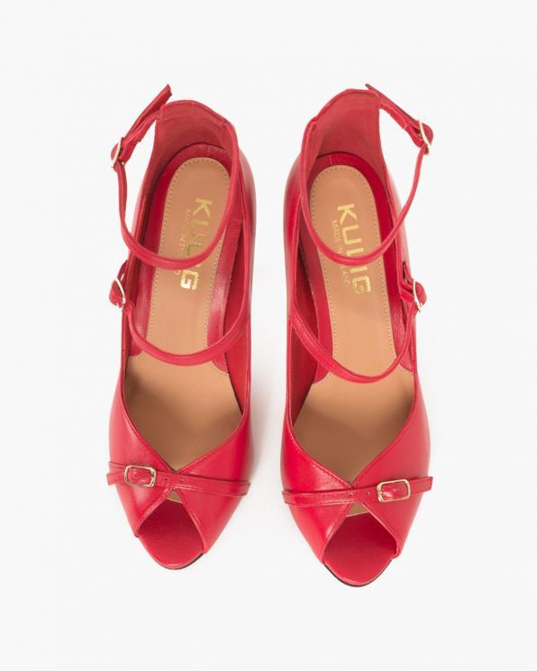 Czerwone sandały skórzane na szpilce  076 735-CZERWONY