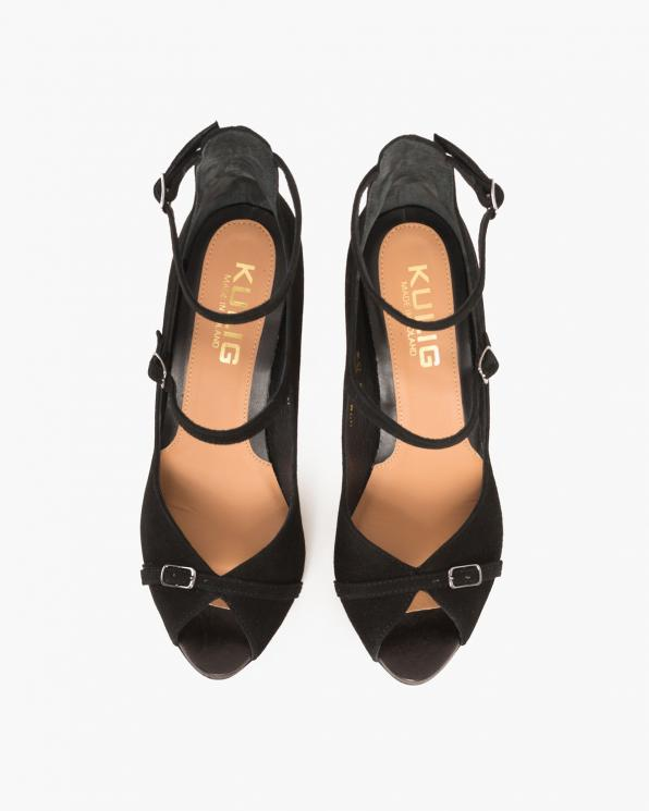 Czarne sandały zamszowe na szpilce  076 735-CZARNY