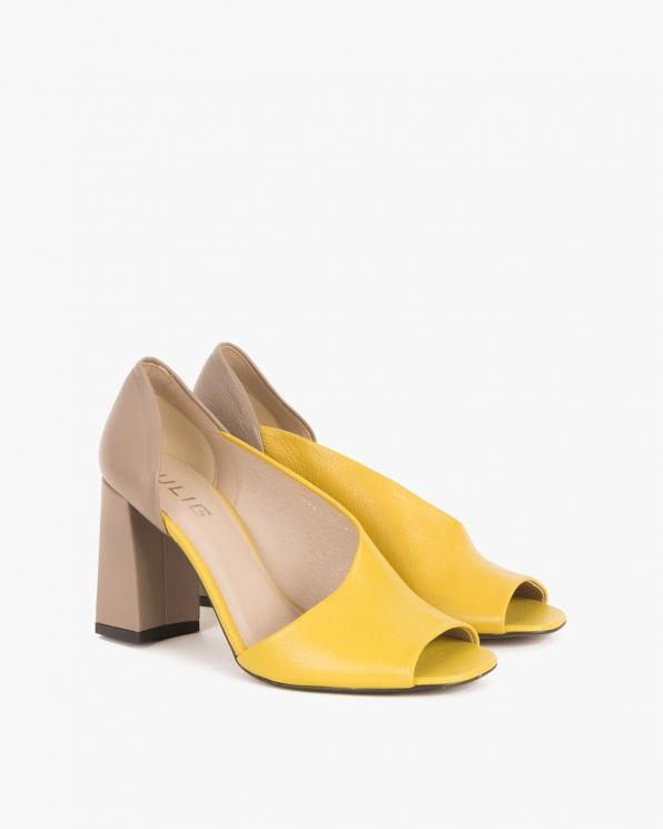 Limonkowo-beżowe sandały skórzane na słupku  012 0210-3210