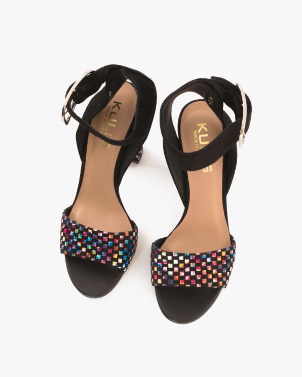 Czarne sandały welurowe na słupku  076 3224-CZARNY