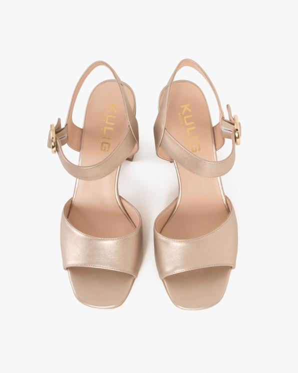 Złote sandały skórzane na słupku  024 -6907-9901