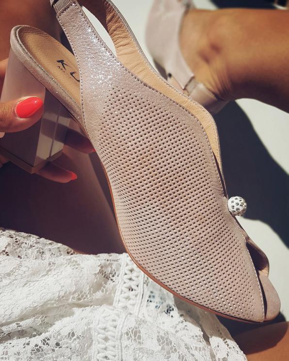 Pudrowe sandały ażurowe na słupku  079 532-RÓŻ