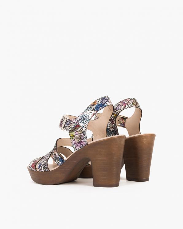 Wielokolorowe sandały nubukowe z motywem  043 505-MULTIKOL