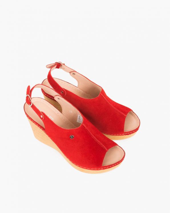Czerwone sandały welurowe na koturnie  082 7891-CZER WE