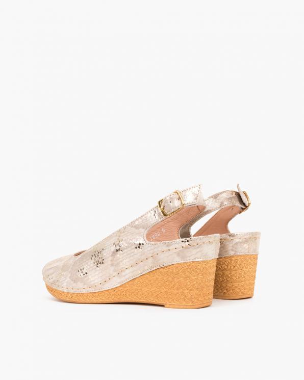 Złote sandały z motywem na koturnie  082 0981-ZŁOTE P