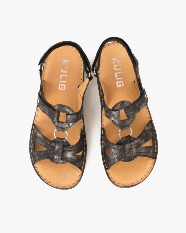 Czarne sandały nubukowe z motywem  043 305-CZAR MAZ