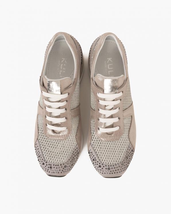 Srebrne sneakersy nubukowe  080 135-SREBRNE