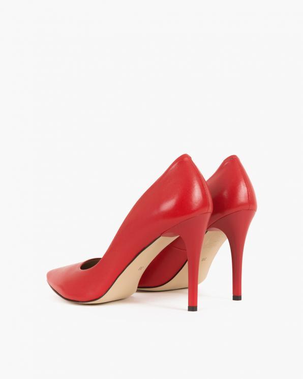Czerwone czółenka skórzane na szpilce  012 001-0225 CZE