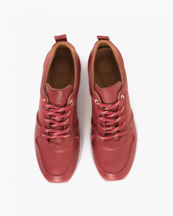 Bordowe sneakersy skórzane  078 658-HOSTING