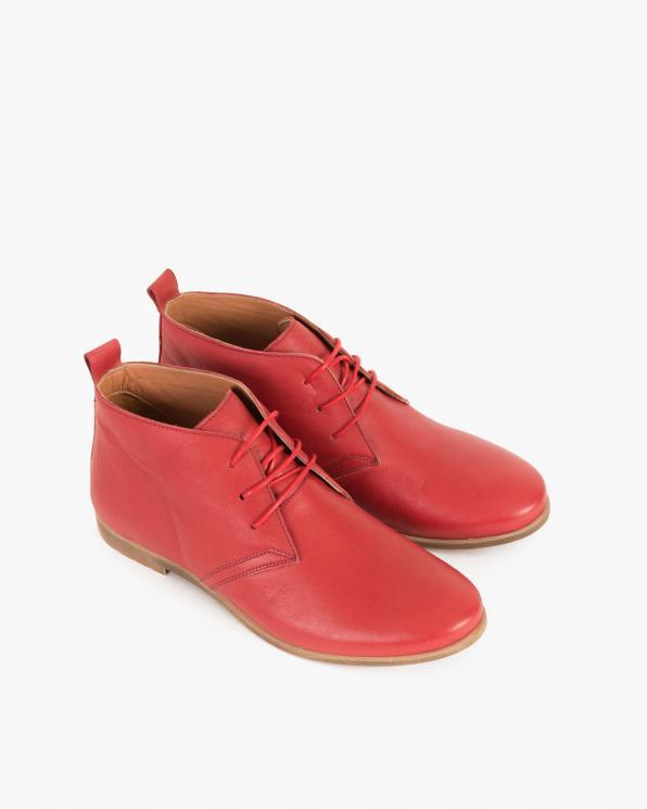 Czerwone botki skórzane sznurowane  078 52101-CZERWO