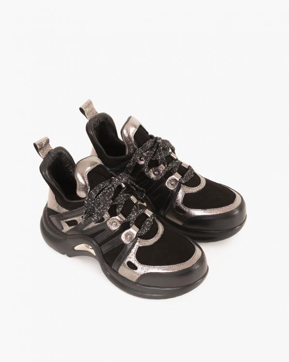 Srebrno-czarne sneakersy skórzane  084 0647 CZARNY