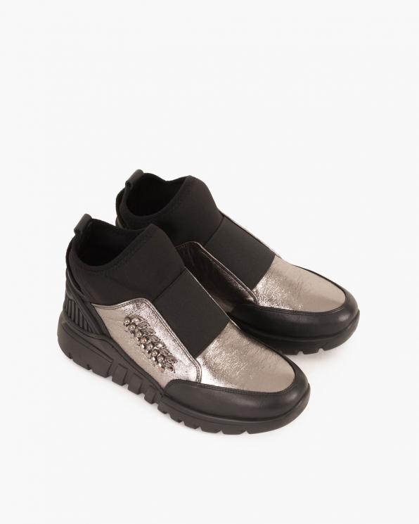 Srebrno-czarne sneakersy skórzane  084 0591 SREBRNY