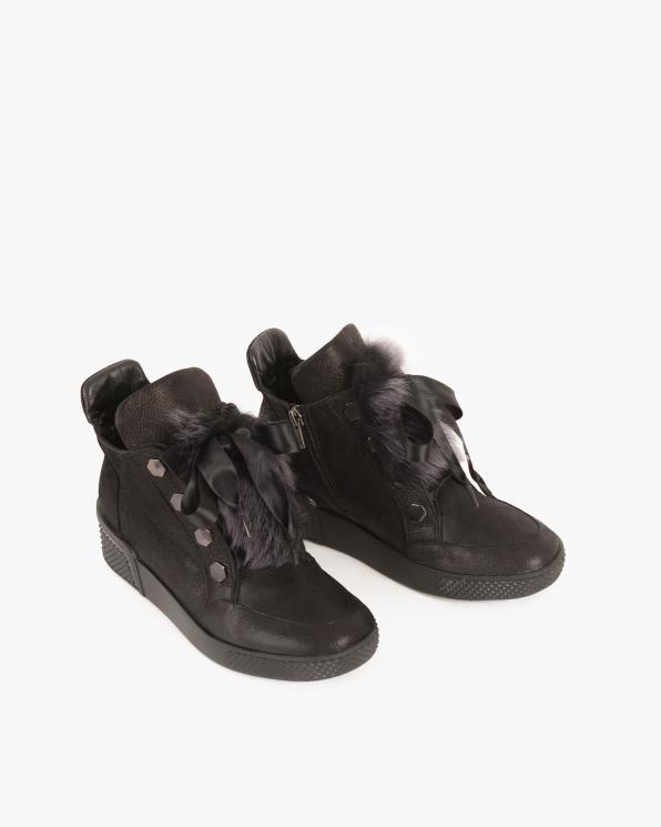 Czarne botki nubukowe z kokardą  080 3014-194