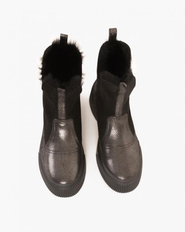 Czarne botki nubukowe z futerkiem  080 086-11 CZARN