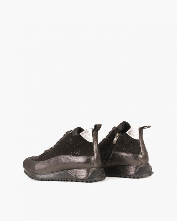 Czarne sneakersy nubukowe  079 1013-CZARNY