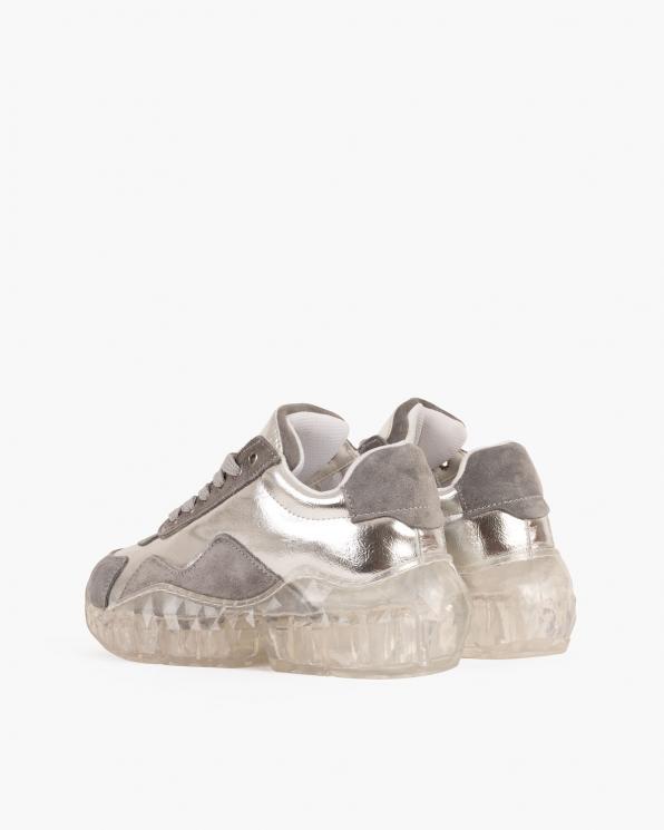 Srebrno-szare sneakersy nubukowe  088 3415 SZARY