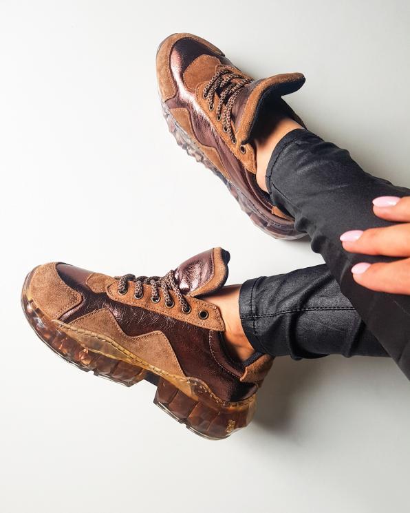 Brązowo-miedziane sneakersy nubukowe  088 3415 CAMEL