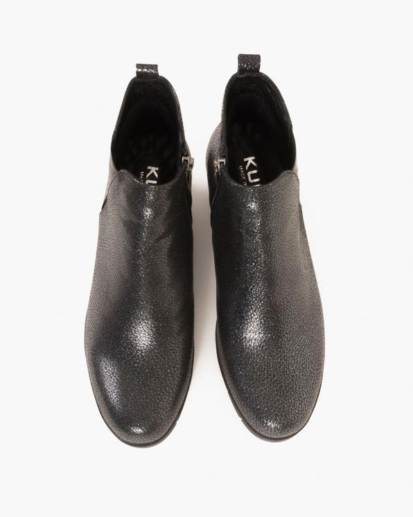Czarne botki nubukowe na koturnie  088 3153-BŁYSK