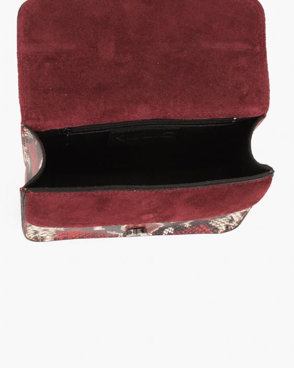 Czerwona torebka damska skórzana z motywem wężowym  027 B 25 CZERWONA