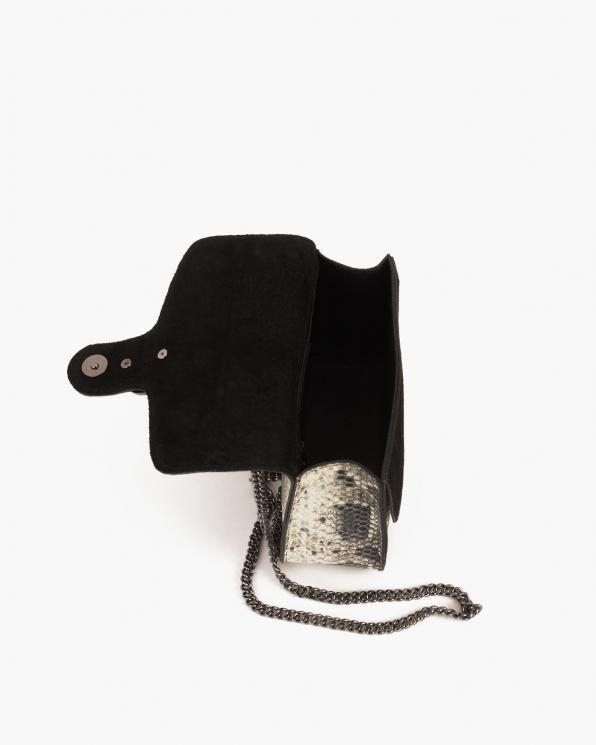 Czarna torebka damska skórzana z motywem wężowym  027 B 25 CZARNA