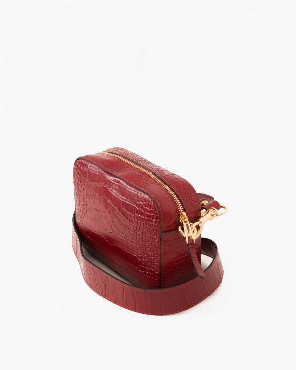 Czerwona torebka damska lakierowana z fakturą krokodyla  027 B 59 C CZERWONY