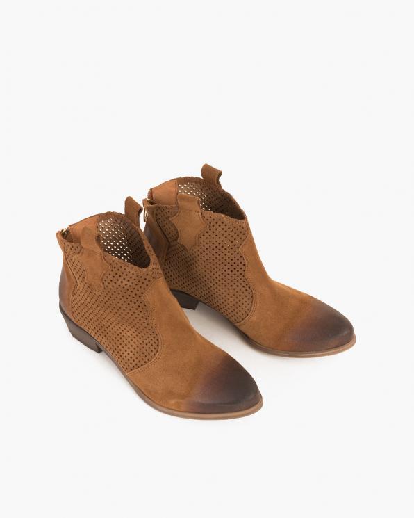 Brązowe kowbojki welurowe ażurowe  077-6611-KONIAK