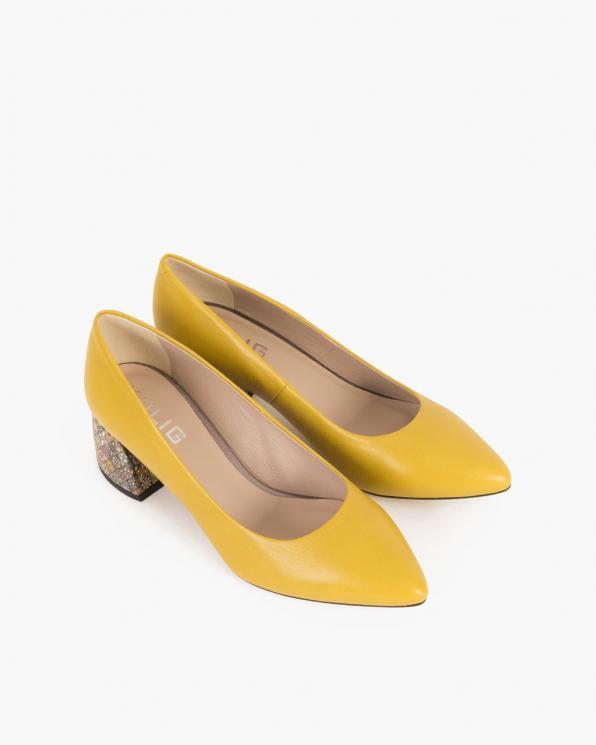 Żółte czółenka skórzane na klocku  012-083-0120-ŻÓŁ