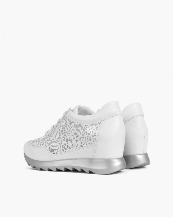 Białe sneakersy skórzane z siatką  098-956-BIAŁY