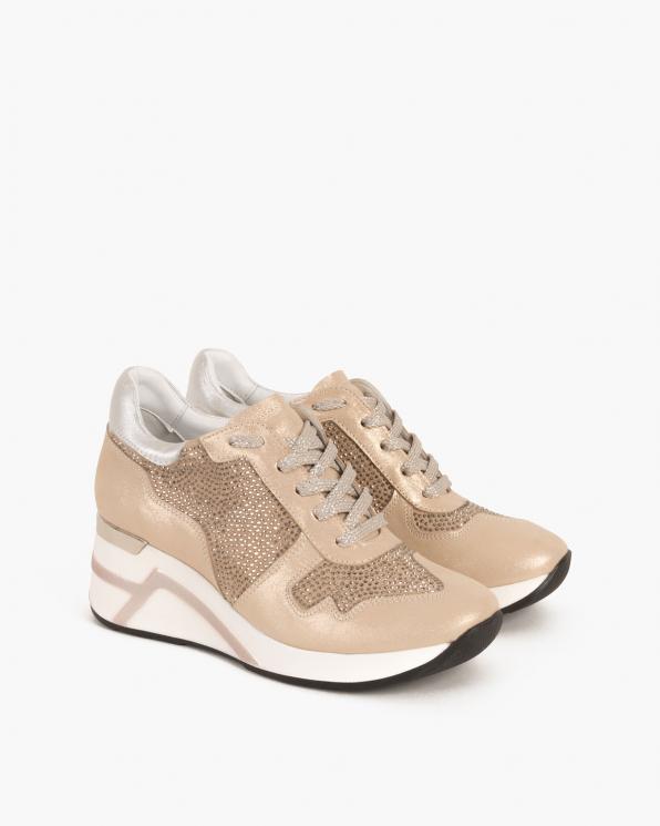 Beżowe sneakersy nubukowe z kryształkami  098-904-BEŻ