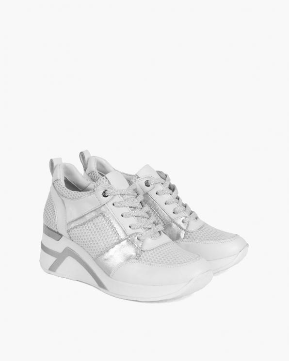 Białe sneakersy skórzane z siatką  098-5067-BIAŁY