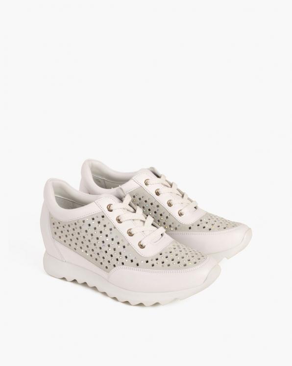 Białe sneakersy skórzane z kryształkami  098-1004-BIAŁY