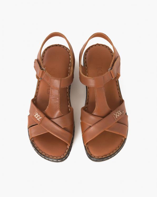 Rude sandały damskie skórzane na koturnie  097-604-RUDE