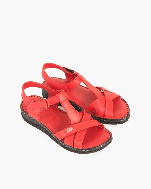 Czerwone sandały damskie skórzane na koturnie  097-604-CZERWONY