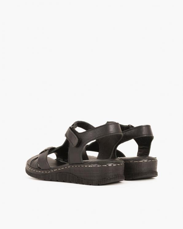 Czarne sandały damskie skórzane na koturnie  097-604-CZARNY
