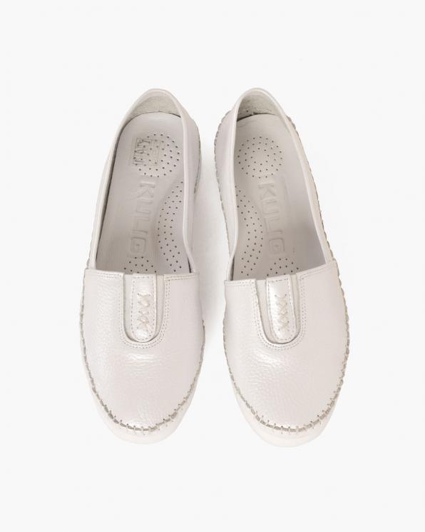 Białe mokasyny damskie skórzane  097-1712-WHITE