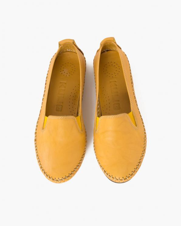 Żółte mokasyny damskie skórzane  097-435-ŻÓŁTY