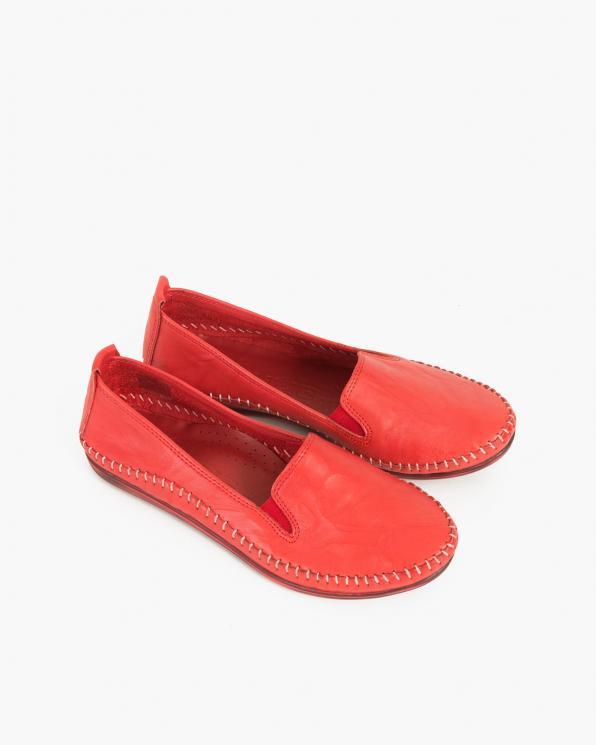 Czerwone mokasyny damskie skórzane  097-435-RED
