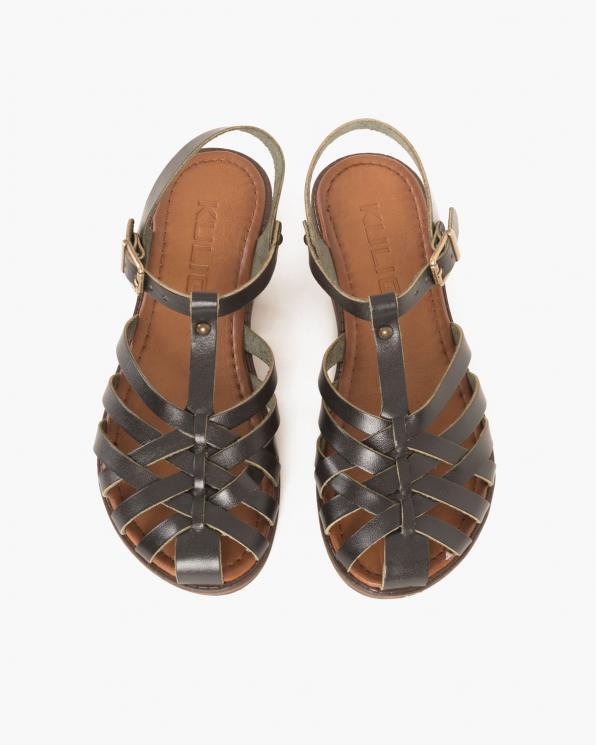 Czarne sandały damskie skórzane  097-3081-CZARNY