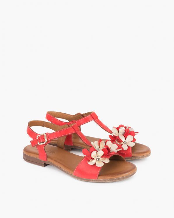 Czerwone sandały damskie skórzane z kwiatami  078-2206-CZERWON