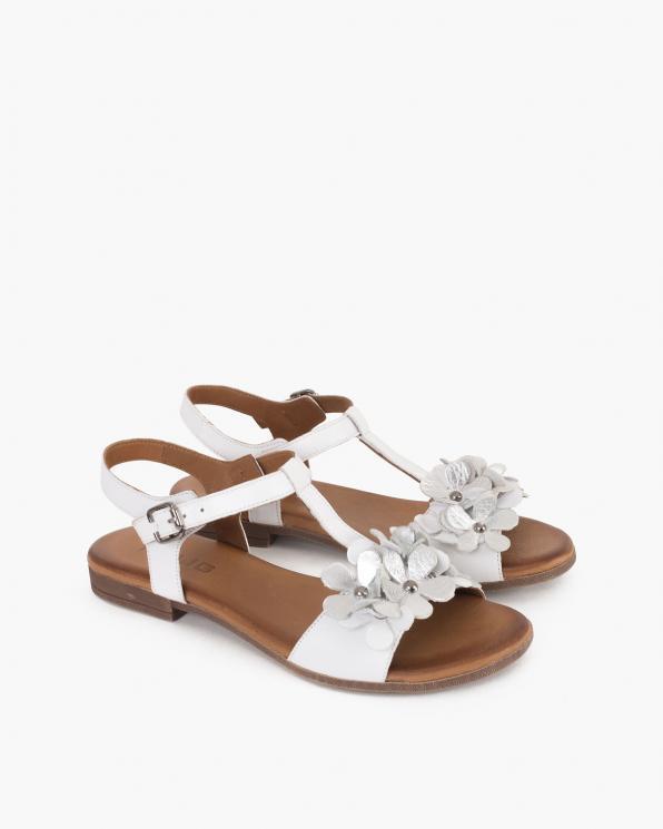 Białe sandały damskie skórzane z kwiatami  078-2206-BIAŁE
