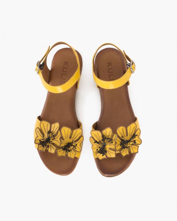 Żółte sandały damskie skórzane z kwiatami  078-2204-ŻÓŁTY