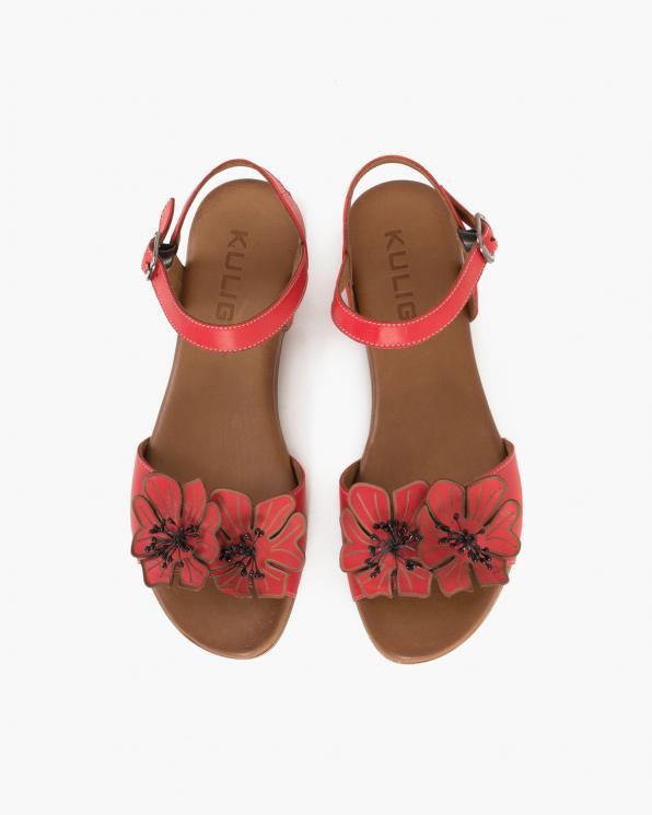 Czerwone sandały damskie skórzane z kwiatami  078-2204-CZERWON