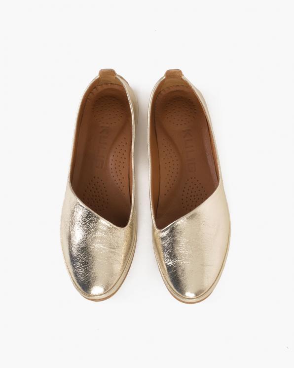 Złote baleriny skórzane  078-202-ZŁOTY