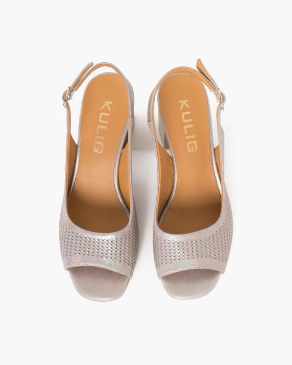 Srebrno-pudrowe sandały damskie nubukowe na słupku  084-5478-MINK