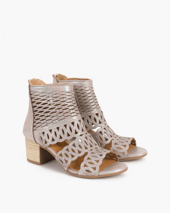 Srebrno-pudrowe sandały damskie nubukowe na słupku  084-5453-MINK