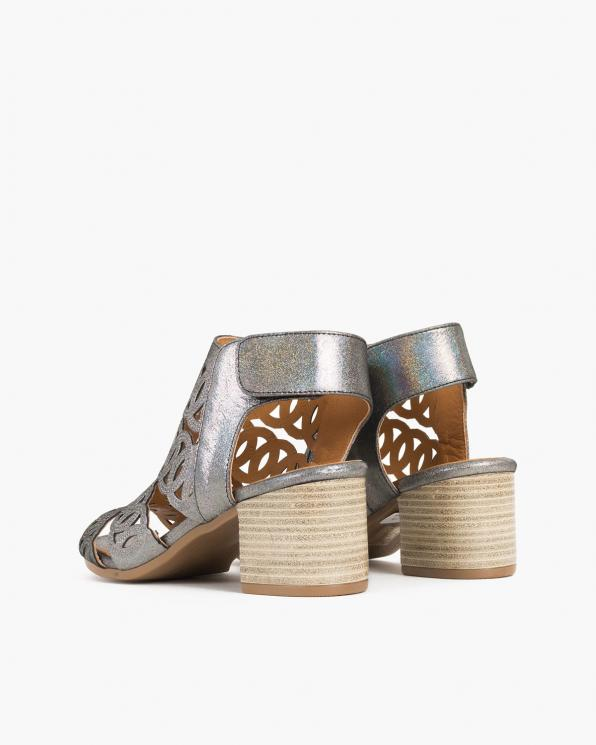 Grafitowe sandały damskie nubukowe z brokatem  084-5452-NIEBIES