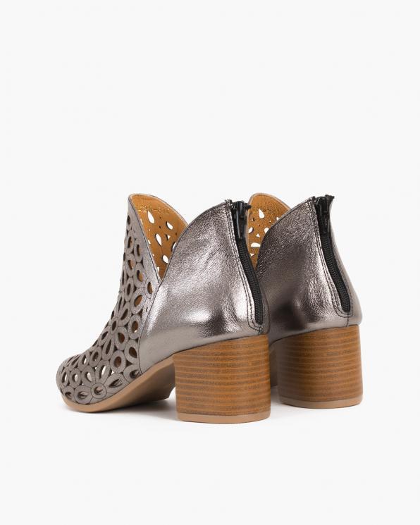 Grafitowe sandały damskie skórzane na słupku  084-5428-SZARY