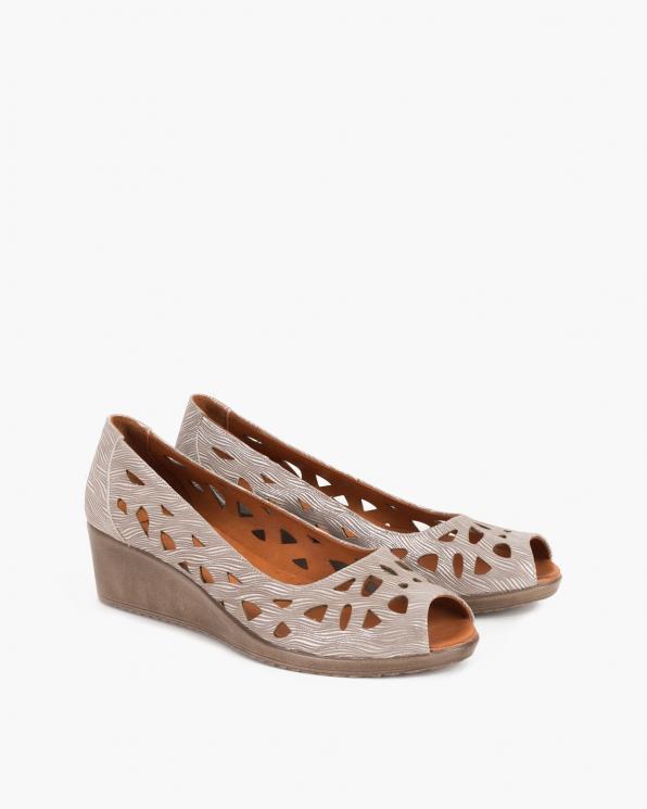 Beżowe sandały damskie nubukowe z motywem  084-154-MINK